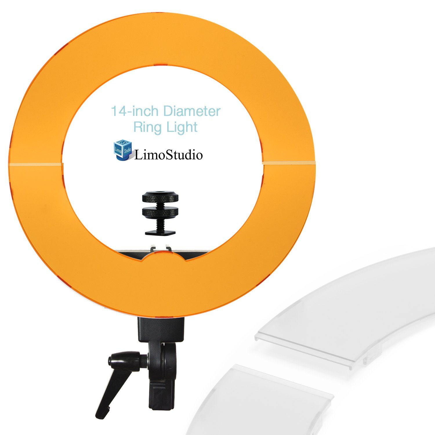 LimoStudio 14-inch Diameter LED Round Ring Light with 1/4 Hot Shoe Mount, Dimmable Continuous Lighting Kit with White and Orange Diffuser Hard Cover for Professional Photo Shoots, AGG2464