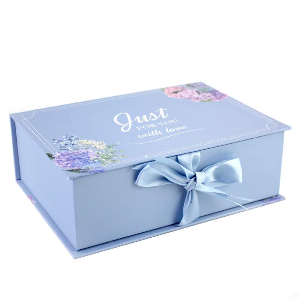 Rectangular Clamshell Gift Box Printing Pattern Ribbon Decoration Holiday Birthday Box Multi-Size Optional (Color : Blue, Size : 28.5×20×9cm)