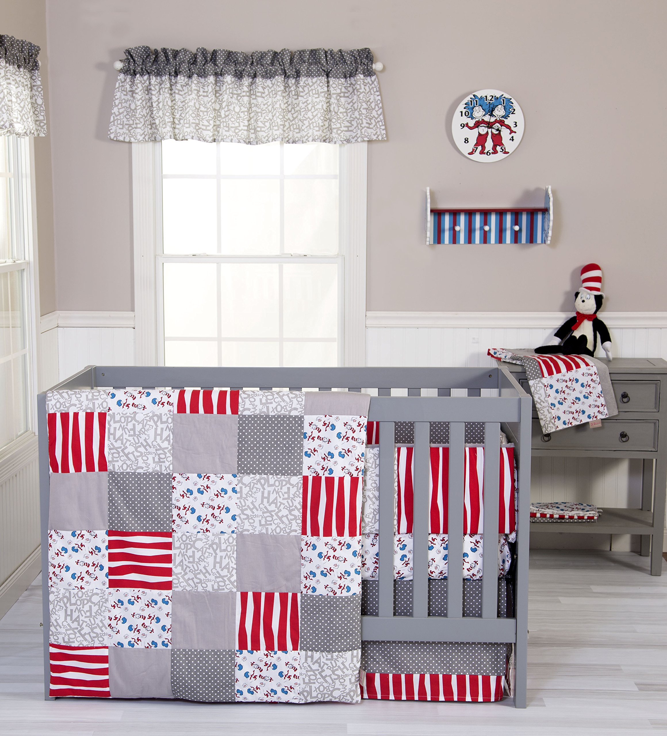 Trend Lab 3 Piece Dr. Seuss Cat and Things Crib Bedding Set