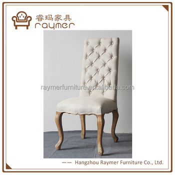 Cream Linen Button Tufted High Back Fabric Dining Chairs
