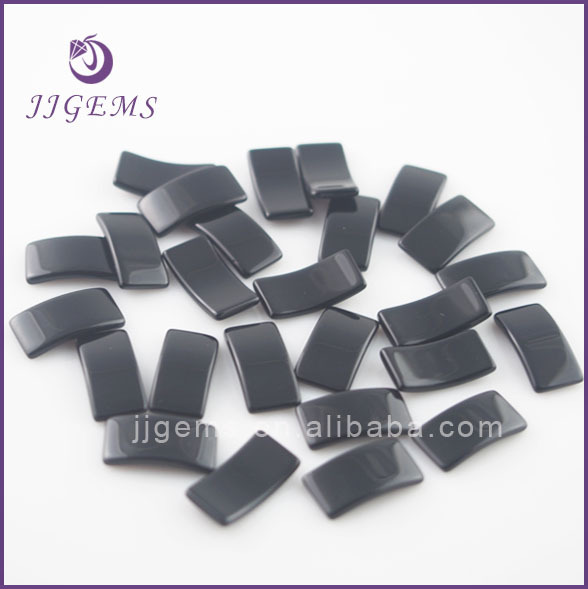 Special thin bridge shape natural black agate onyx gemstone price