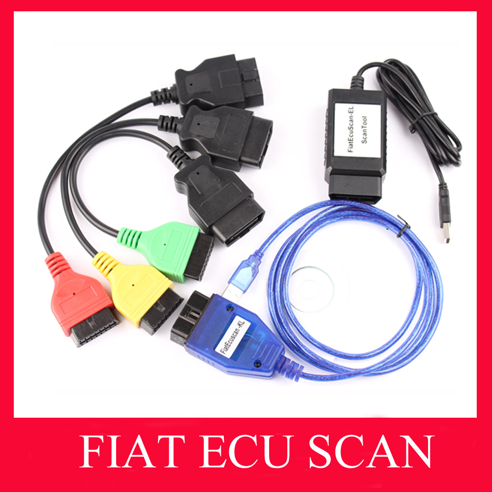 2016 New Arrival Fiat Ecu Scan Adaptors Fiat Connect tool Cable Auto OBD2 Diagnostic Interface 3pieces a set free shipping