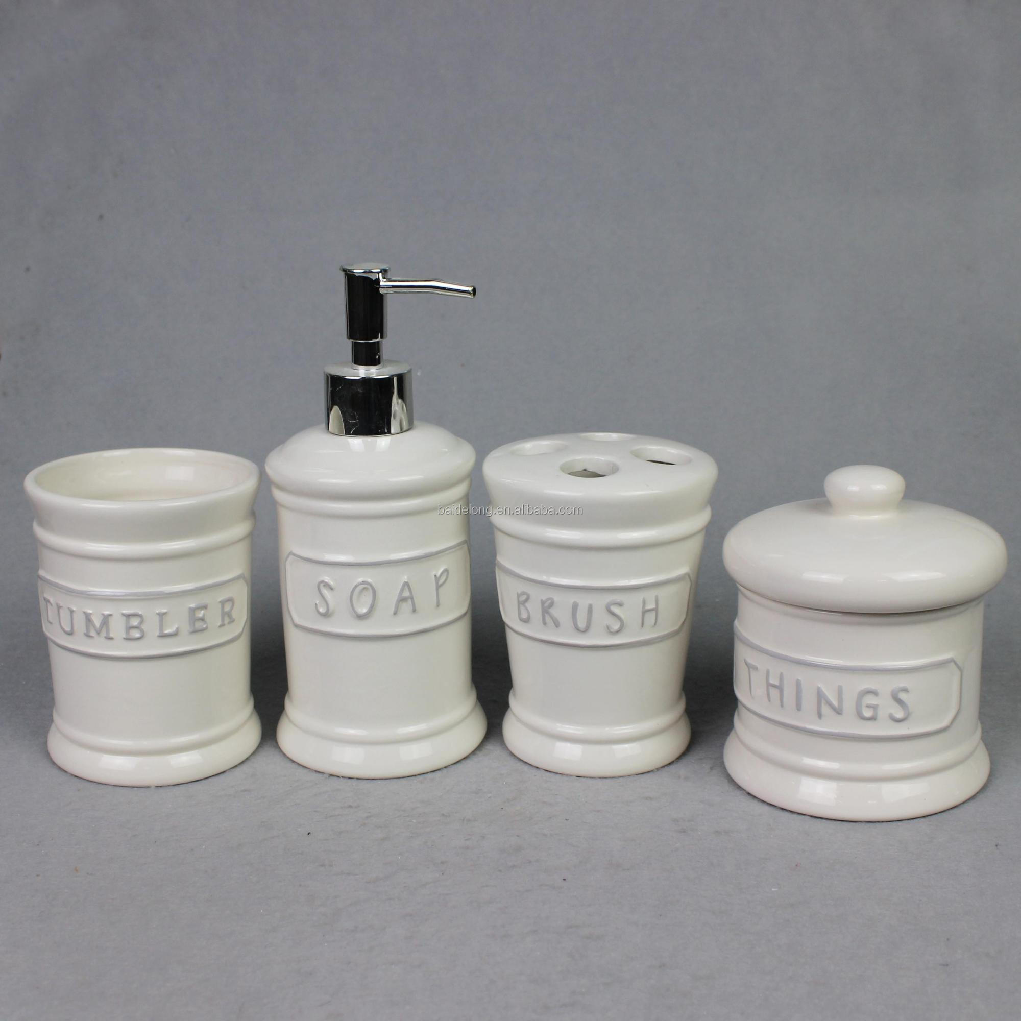 Emboss Ceramic Bathroom Accessory Set W Toothbrush Holder Tumbler