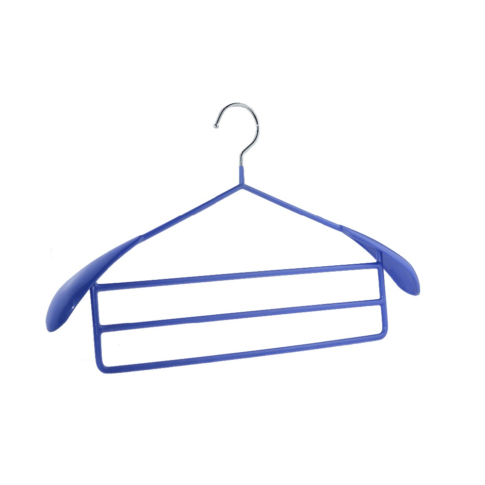 Hot sell colorfu pvc coated iron wire clothes hanger with 3layers