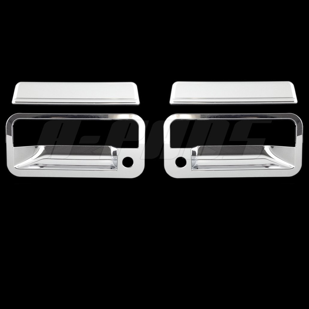 A-PADS 2 Chrome Door Handle Covers for Chevy C10 Pickup 1988-1998 / S10+S10 BLAZER 1992-1995 / TAHOE 1995-1999 / SUBURBAN 1992-1999 / & GMC YUKON 1992-1999 - WITH Passenger Keyhole