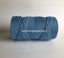 Turquoise colour 4mm 5mm single twisted cotton rope macrame cord for wall hanging