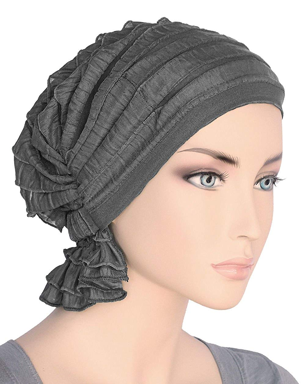908f15cb6c5 Get Quotations · Turban Plus The Abbey Cap in Ruffle Fabric Chemo Caps  Cancer Hats for Women