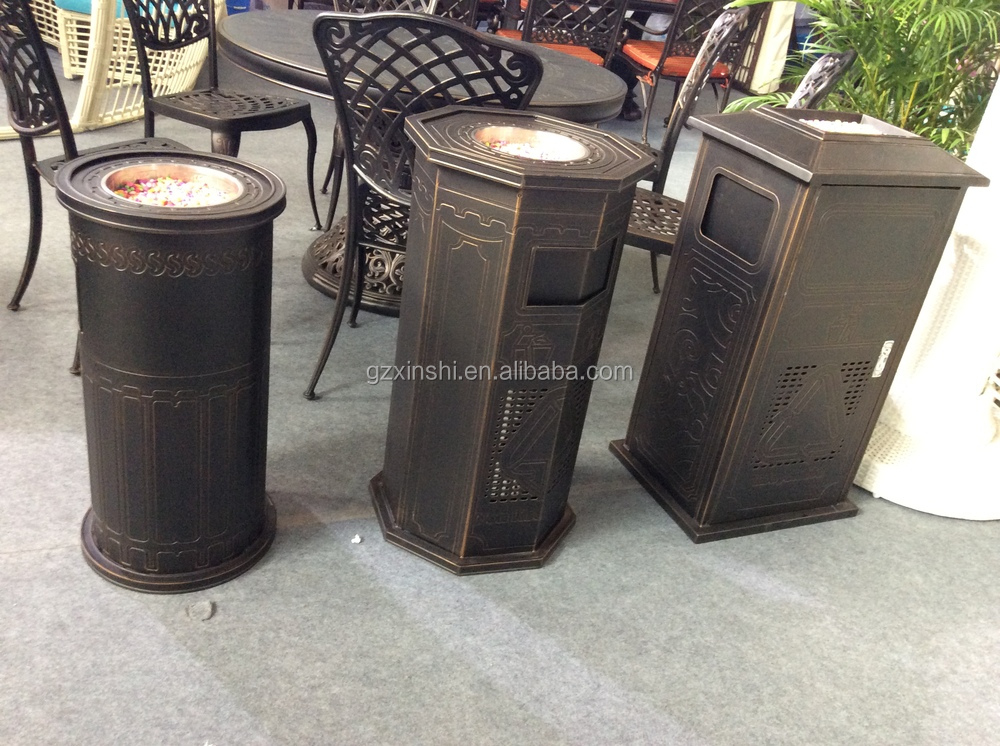 cheap outdoor round cast aluminum trash bin garden decorative garbage can buy empty aluminum. Black Bedroom Furniture Sets. Home Design Ideas