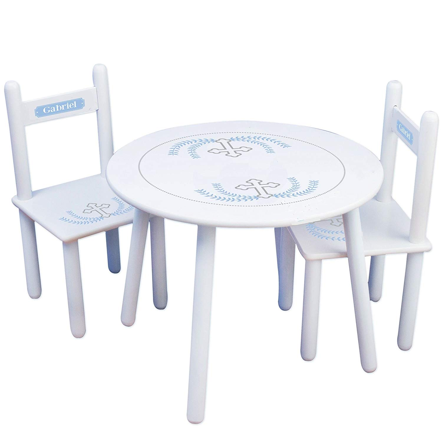 MyBambino Personalized Cross Garland Light blue Childrens Table And Chair Set