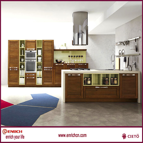 Solid wood with Wenge color kitchen cabinet / plywood, particle ...