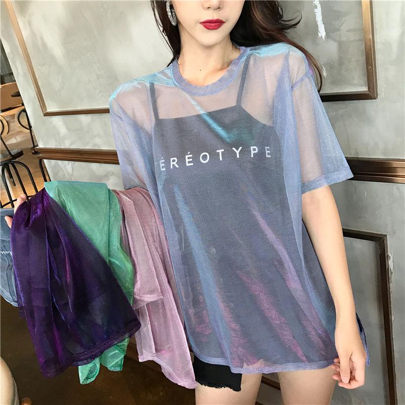 Модная открытая футболка 2020, женские сексуальные прозрачные летние топы, женские свободные футболки с коротким рукавом, 2 комплекта, женска...(Китай)