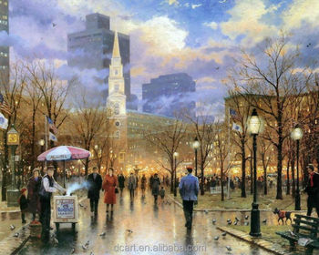 Modern Busy Street Landscape Oil Pic With Kinkade Ways Of Painting ...