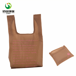 OEM logo print T shirt polyester foldable shopping bag with pouch