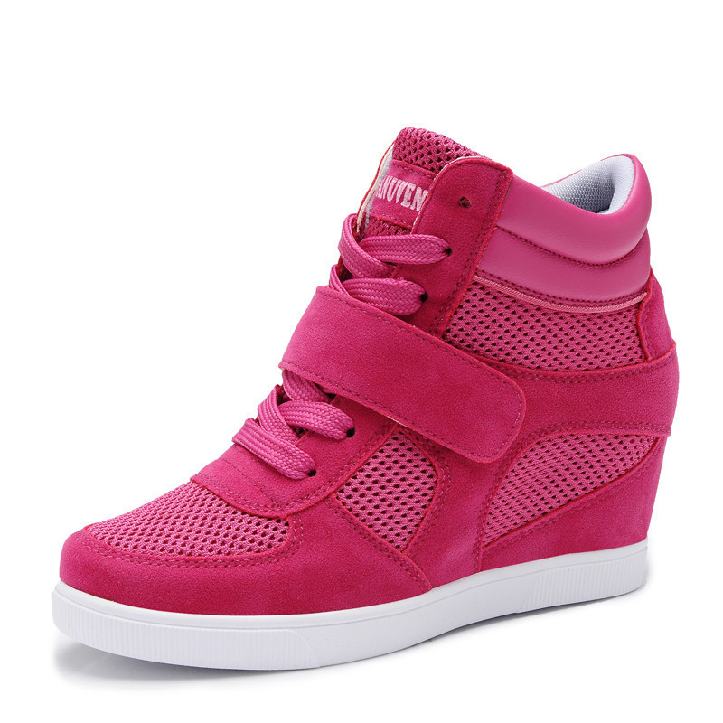 New 2015 Brand Sneakers For Women High Quality Casual Fashion Women Wedges Sneakers Height Increasing Ladies hidden wedge shoes