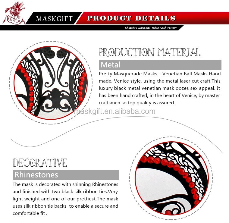 Wholesale handcraft metal women halloween mask with low price