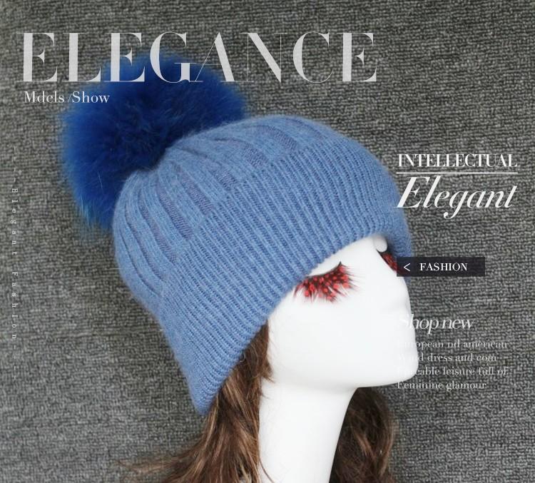 7ef062d57700eb 100% Angora Winter Beanie Hat With Big Detachable Real Fur Pom - Buy ...