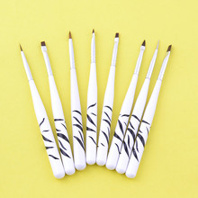 8 Pcs/Set Delicate Handle French Manicure Brush UV Gel Painting Art Pen