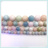 Natural Morganite Beads 6 8 10 12mm Genuine Pink Beryl Loose Gemstone Beads for Necklace Bracelet Jewelry Making