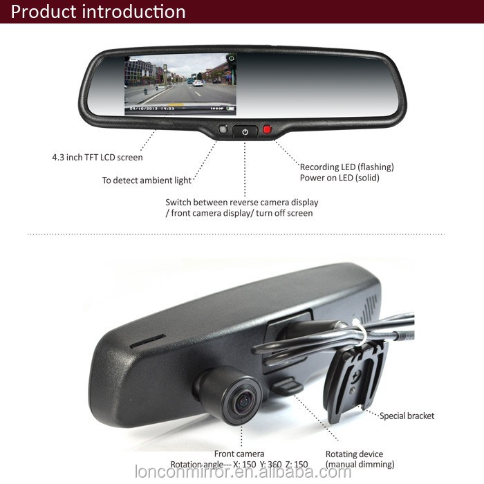 1080 p voiture dvr r troviseur int rieur r troviseur cam ra de recul miroir pour ford ranger. Black Bedroom Furniture Sets. Home Design Ideas