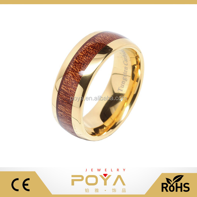 POYA Jewelry 8mm 14k Gold Plated Men's Tungsten Carbide Ring Wood Inlay Wedding Bands