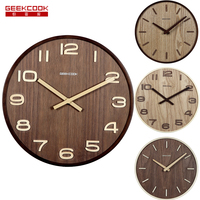 12 inch fashion Retro wooden farmhouse Mute sweep antique modern digital wood watch wall clock wooden home decoration reloj pare