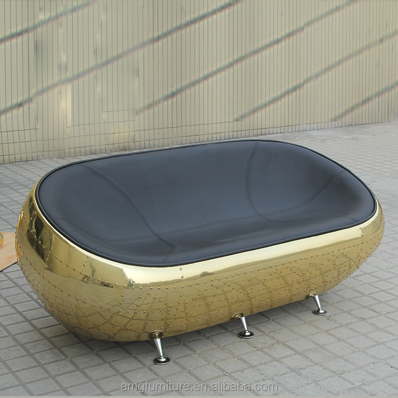 Golden Aluminium Vintage Leather Spitfire Half Dome Sofa