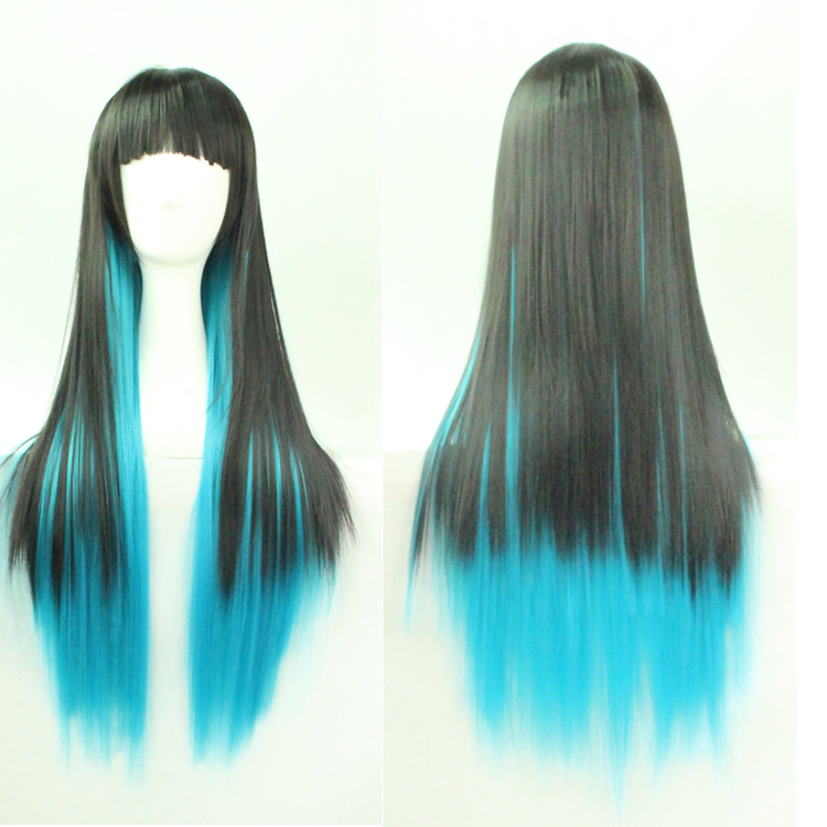 Womens Ladies New Harajuku Fashion 70CM Long Straight Wig Full Bang Black Blue Mixed Two Tone Ombre Synthetic Cosplay Party Wigs