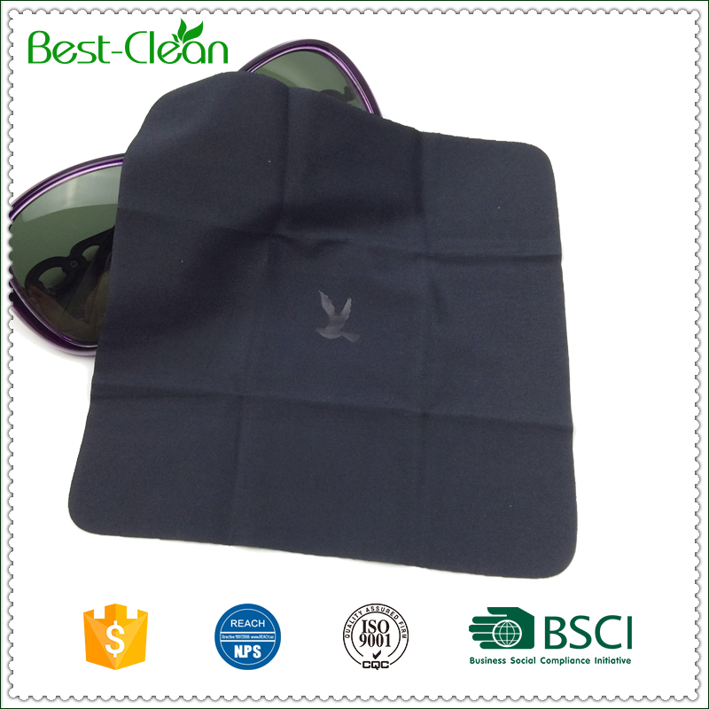 Black Microfiber Sunglasses Wipes Cloth with Hot Stamping