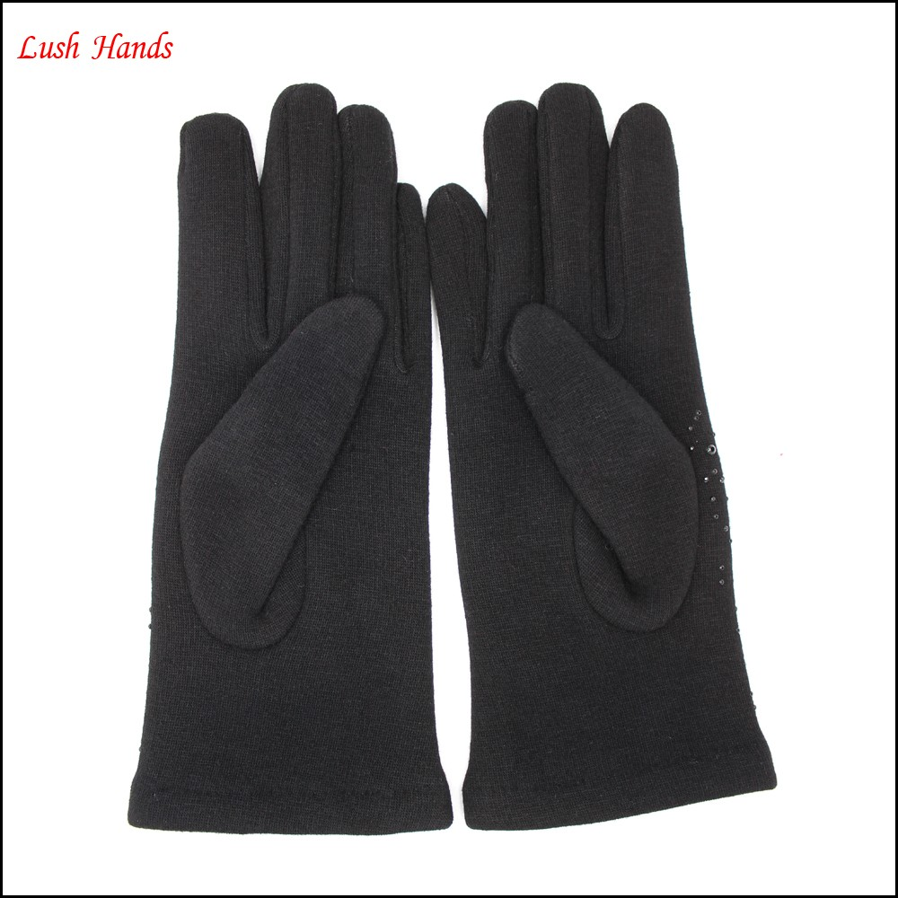 women's spandex velvet gloves with black diamonds for wholesale