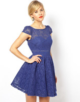 China Supplier Lace Stylish Dress Wholesale Clothing Fashion Woman Elegant Beautiful Knee length Lace Skate dress for Women