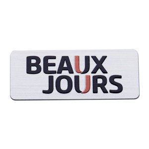 JHY Durable custom aluminum logo sticker, custom metal badges