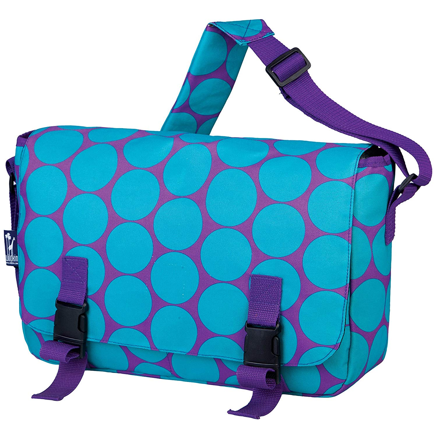 Wildkin Messenger Bag, 15 x 10 Inch Messenger Bag, Includes Interior and Exterior Pockets and Buckled Straps to Close, Ages 8+, Perfect for School, Sports, and Day Trips – Big Dot Aqua