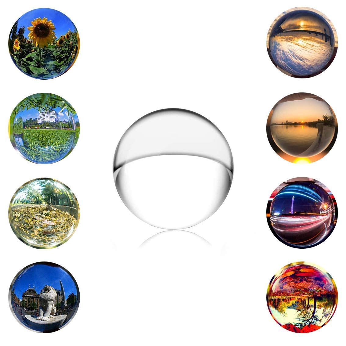SunAngel 70mm Clear Crystal Ball - Meditation Sphere Ball- Divination & Interpretation Sefirot Crystal Ball - Decor Photography Balll - No Stand