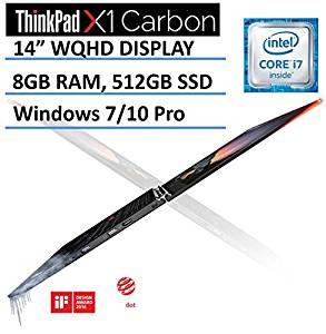 """Lenovo ThinkPad X1 Carbon (2016 NEWEST 4th Generation) 14"""" Ultrabook Laptop, Intel Core i7-6500U, WQHD 2560x1440 IPS Anti-glare Display, 8GB RAM, 512GB SSD, Backlit Keyboard, Windows 7/10 Pro"""