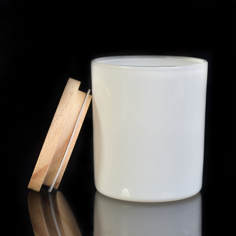 hot sales white glass candle jar with wood lid