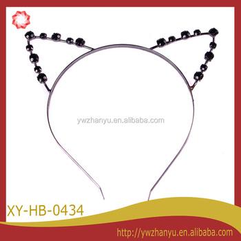 Fashion Black Diamond Cat Ear Headband For Kids - Buy Headbands ... 3d9fed90f1d