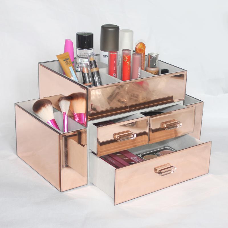 neue gro handel benutzerdefinierte sch nheit glas gro e gespiegelt make up veranstalter rose. Black Bedroom Furniture Sets. Home Design Ideas