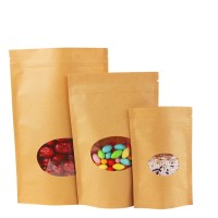 customized brown kraft paper bags with window food packaging bag