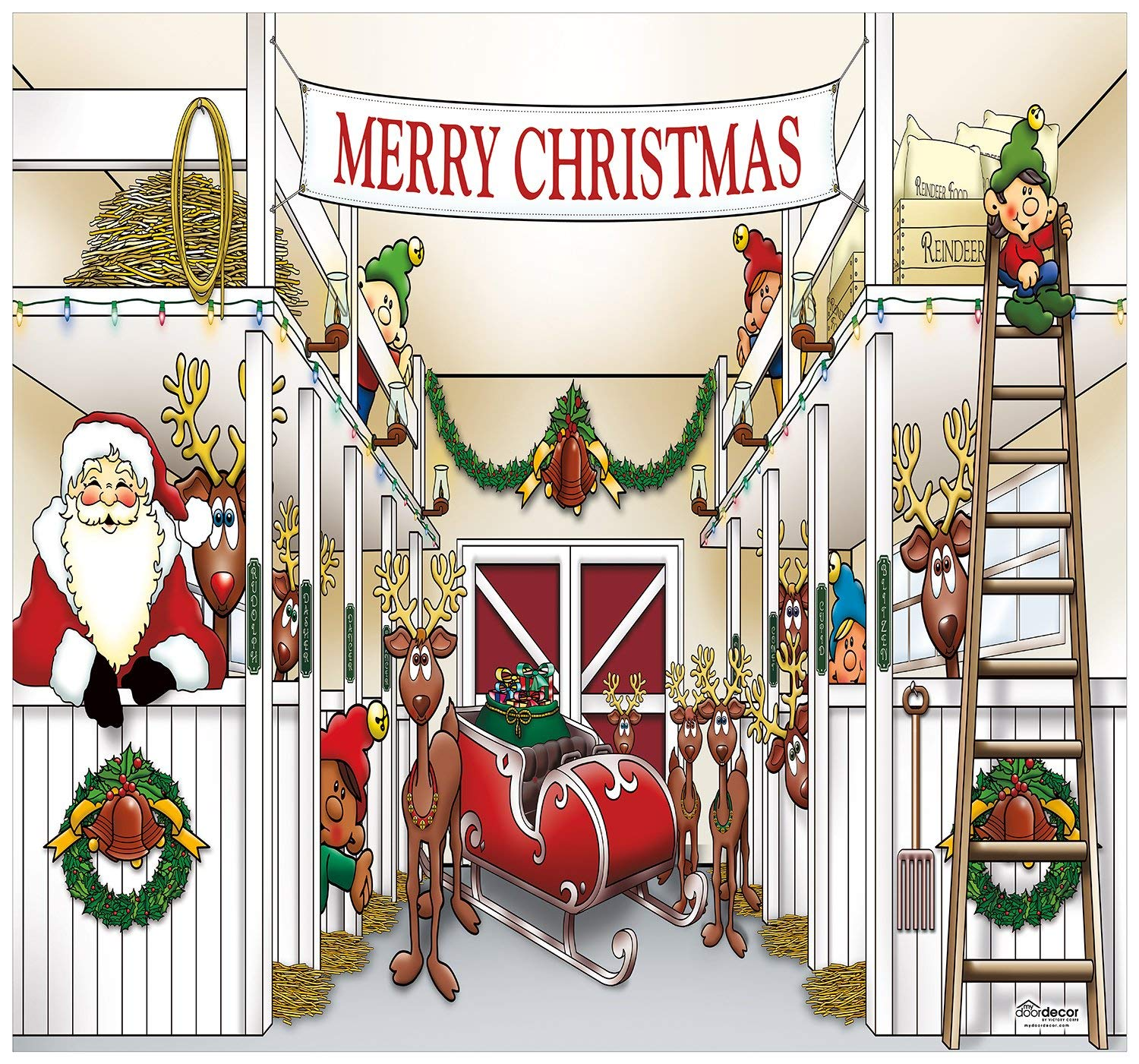 Victory Corps Outdoor Christmas Holiday Garage Door Banner Cover Mural Décoration - Santa's Reindeer Barn Holiday Garage Door Banner Décor Sign 7'x8'