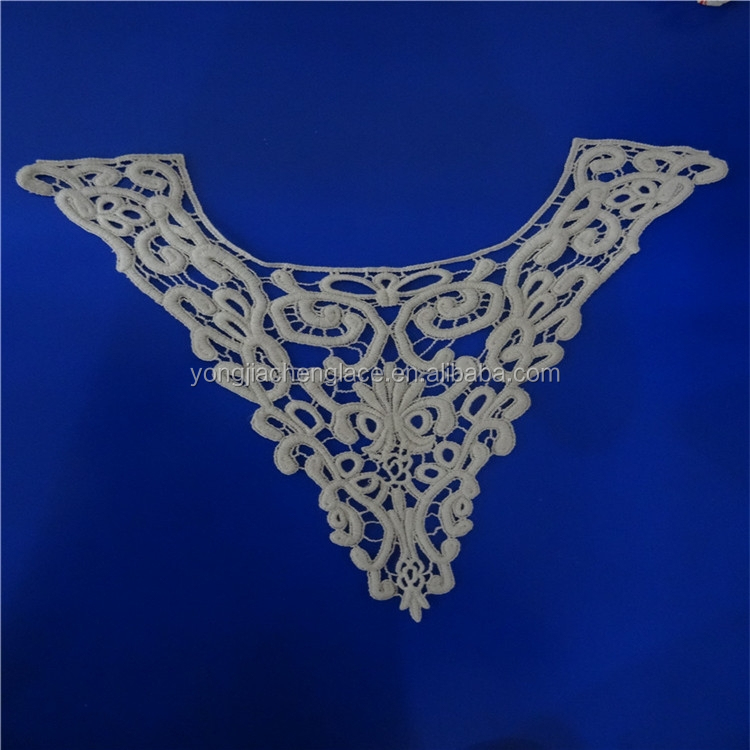 (YJC19106) machine embroidery crochet ready made lace collar