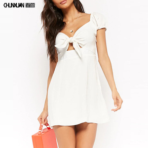 Women Summer Tie-Front Cut Out White Mini Dress OEM/ODM