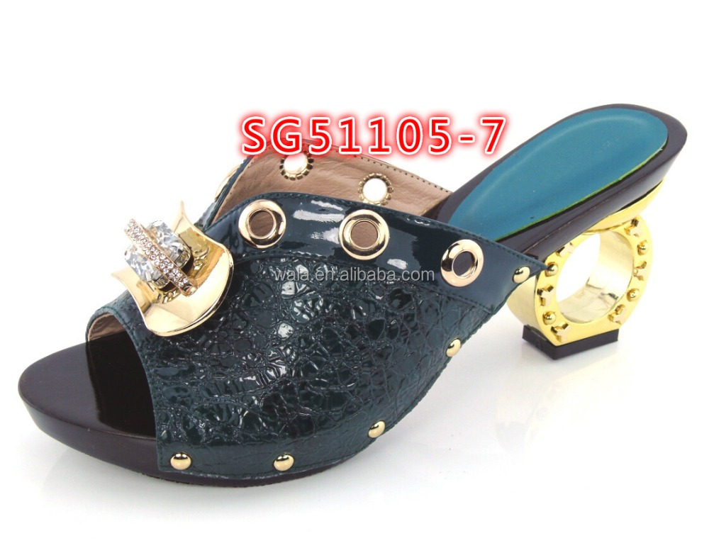 party slippers style 7 women heel shoes peep SG51105 italian shoes toe for dark green low 6w5Aqxp
