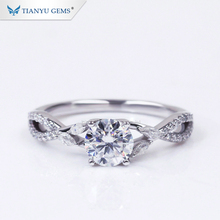 Tianyu Pure White Gold <span class=keywords><strong>Ring</strong></span> 0.75ct Ronde <span class=keywords><strong>Hart</strong></span> & Pijl Kleurloze Moissanite Wedding Engagement <span class=keywords><strong>Ring</strong></span> Voor Lades