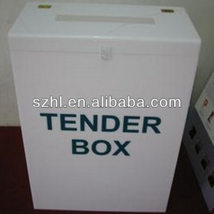 White acrylic tender box with lock
