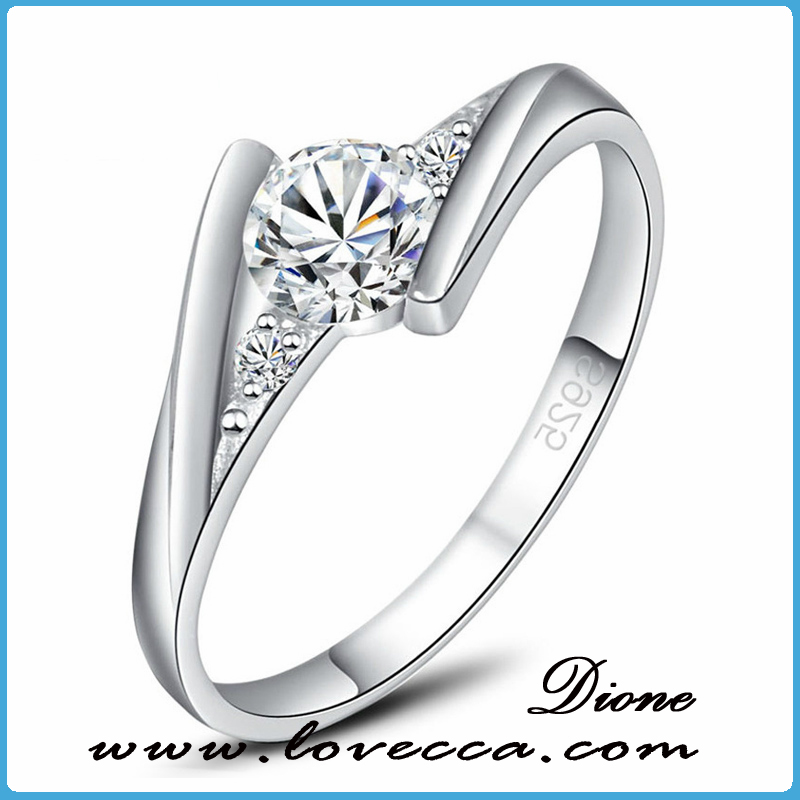 2016 hot sale sterling silver jewelry 925 silver ring diamond