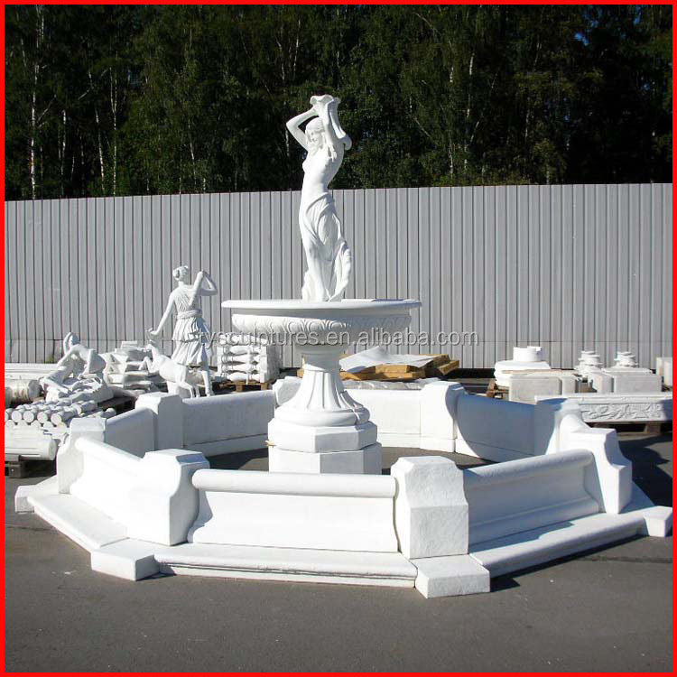 White marble garden female statue fountain stone life size lady water fountains