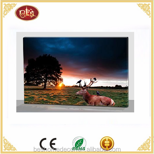 Landscape and Reindeer led canvas painting/canvas prints with led lights