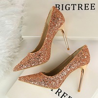 High quality high heel dress shoes women sequins wedding shoes for sale