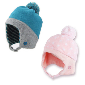 Fleece Kids Hat With Ear Flap Baby Cap With A Ball Top Children Winter Hat 6cb2e652d26