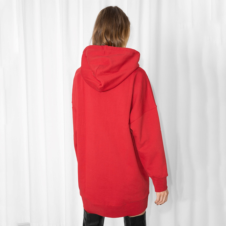 8d102989229 Casual winter long sleeve plain longline Pullover Red oversized Hooded  sweatshirt Dress